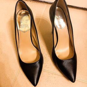Vince Camuto black leather pumps